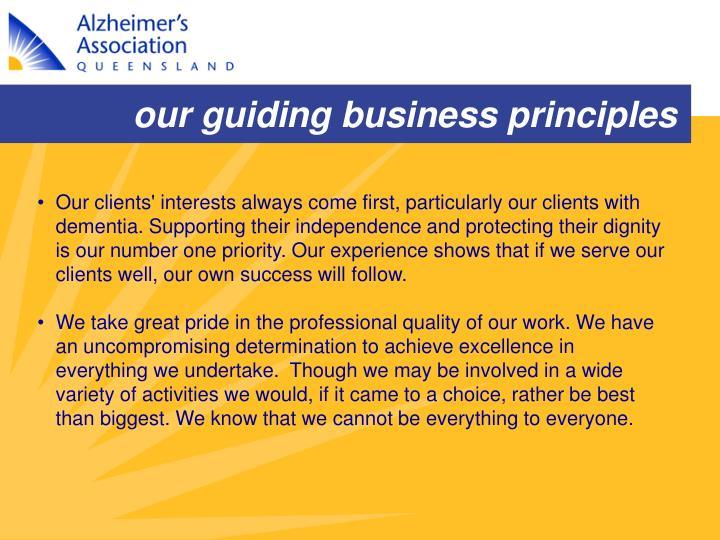 our guiding business principles
