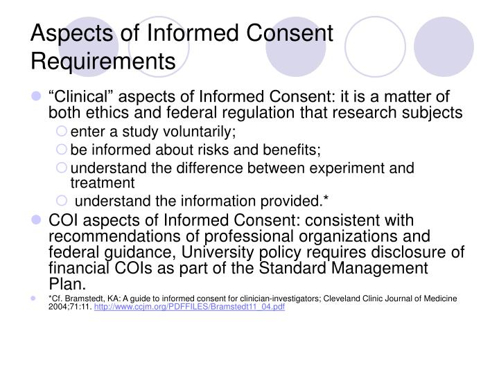 Aspects of Informed Consent Requirements