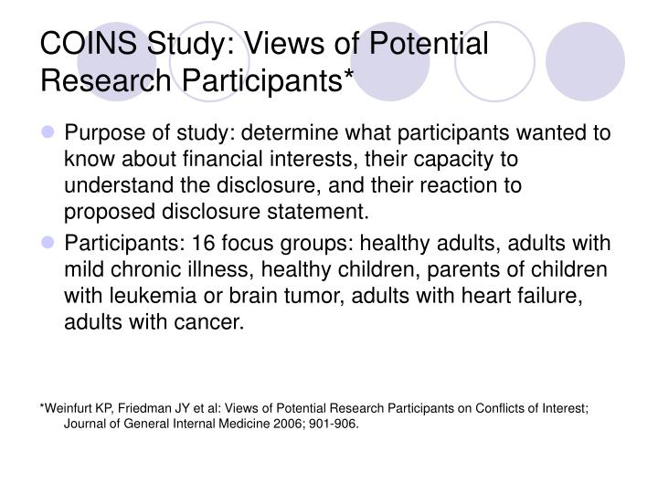 COINS Study: Views of Potential Research Participants*