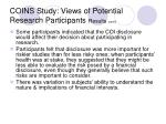 coins study views of potential research participants results cont d