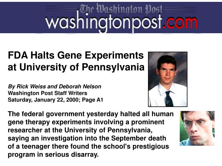 FDA Halts Gene Experiments