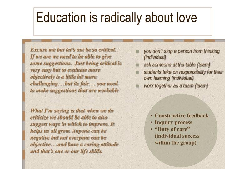 Education is radically about love