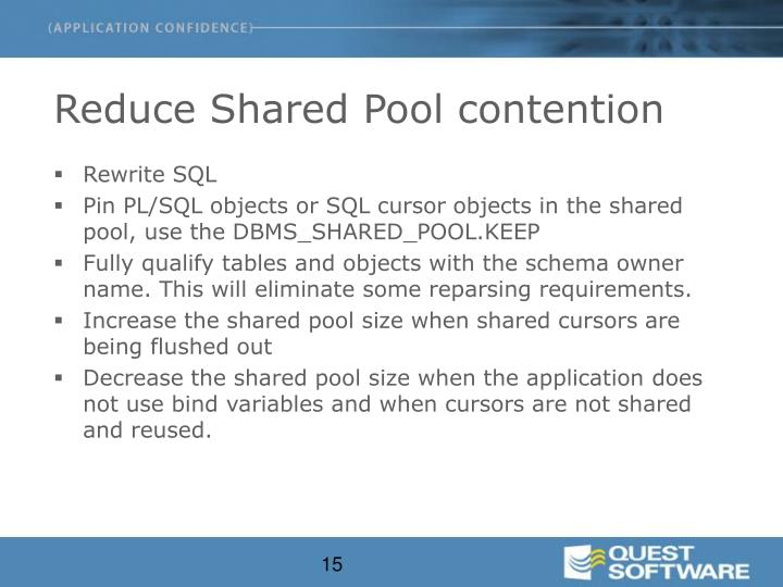 Reduce Shared Pool contention