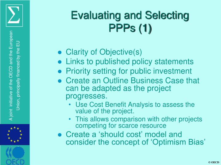 Evaluating and Selecting PPPs (1)