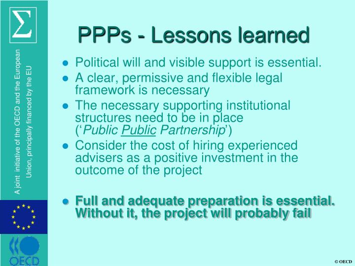 PPPs - Lessons learned