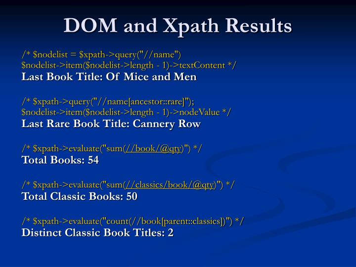 DOM and Xpath Results
