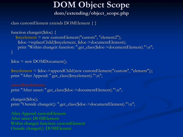 DOM Object Scope