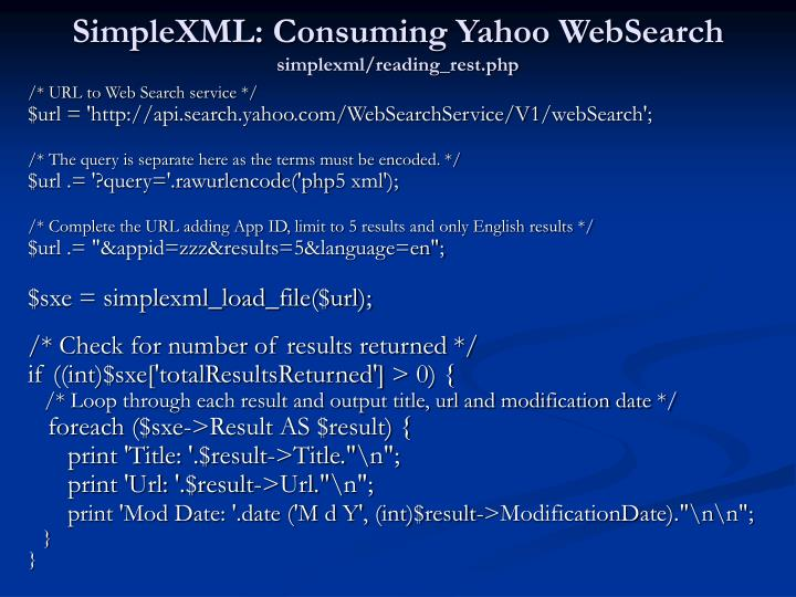 SimpleXML: Consuming Yahoo WebSearch