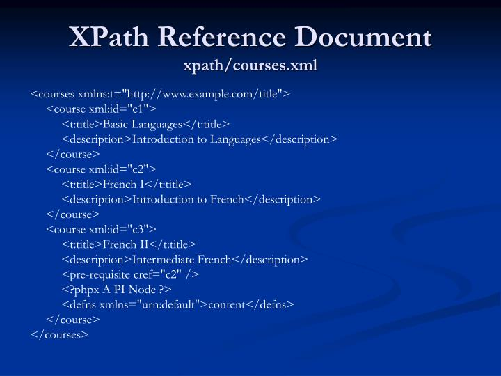 XPath Reference Document