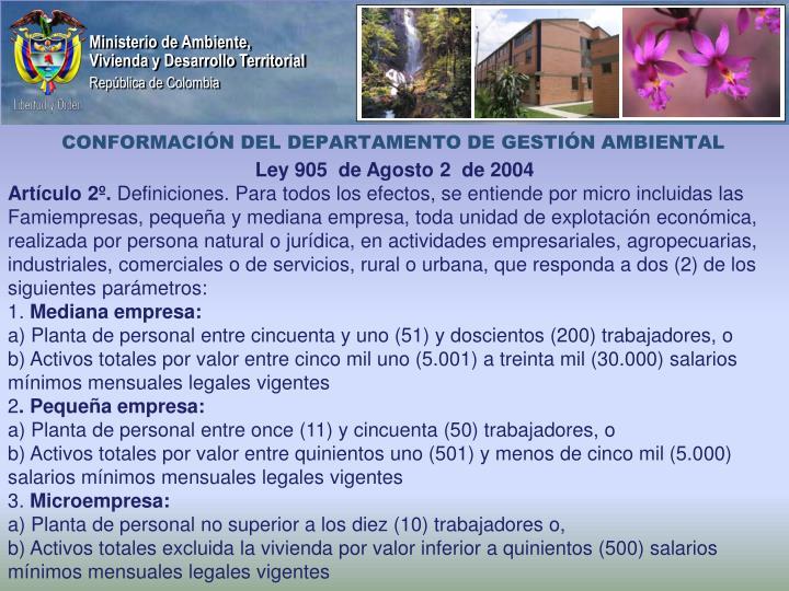CONFORMACIÓN DEL DEPARTAMENTO DE GESTIÓN AMBIENTAL