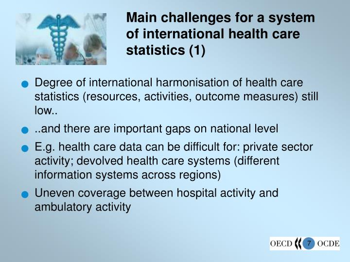 Main challenges for a system of international health care statistics (1)