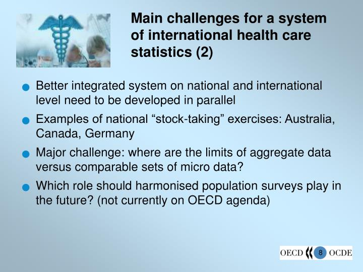 Main challenges for a system of international health care statistics (2)