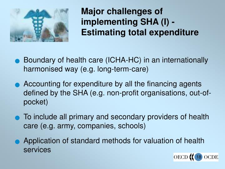 Major challenges of implementing SHA (I) - Estimating total expenditure