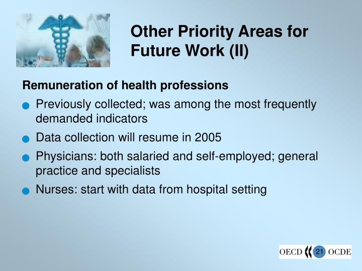 Other Priority Areas for Future Work (II)