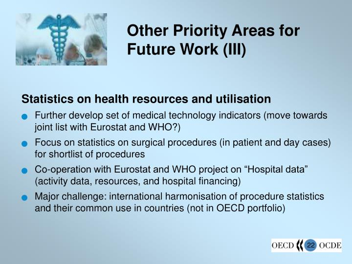 Other Priority Areas for Future Work (III)