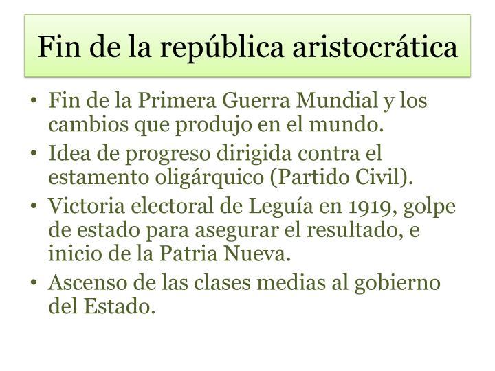 Fin de la república aristocrática