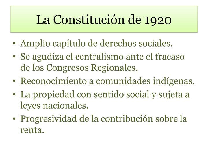 La Constitución de 1920