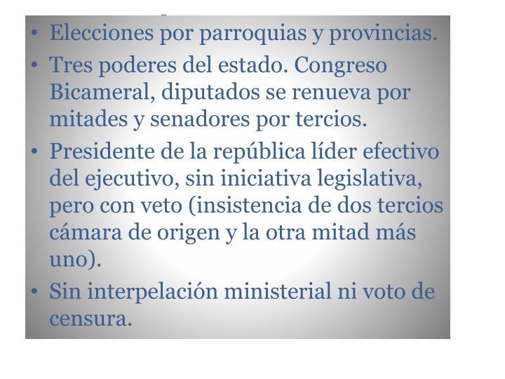 Elecciones por parroquias y provincias.