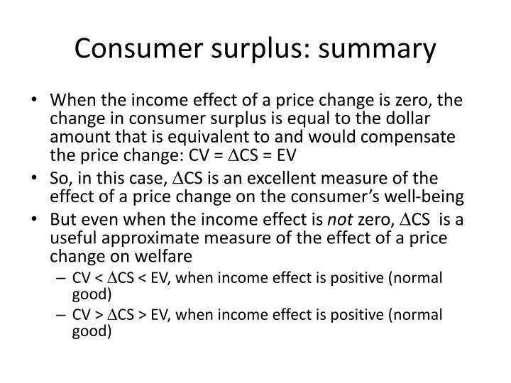 Consumer surplus: summary