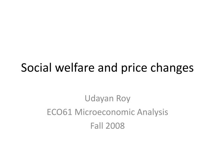 Social welfare and price changes