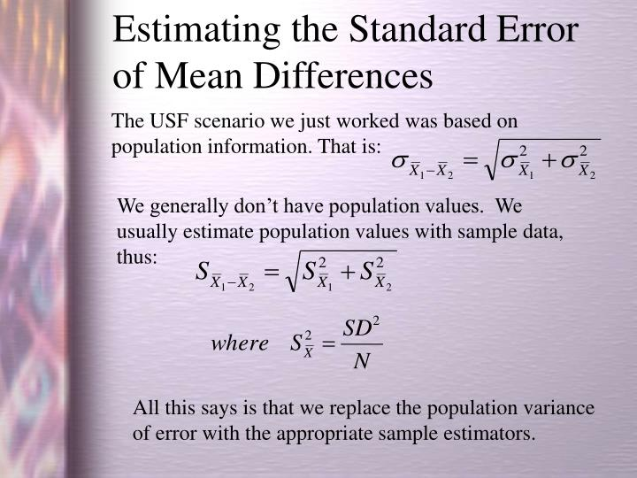 Estimating the Standard Error of Mean Differences