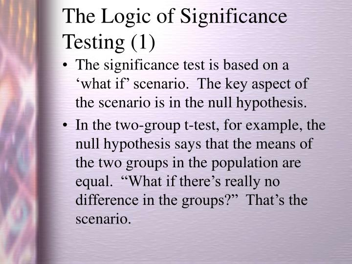 The Logic of Significance Testing (1)