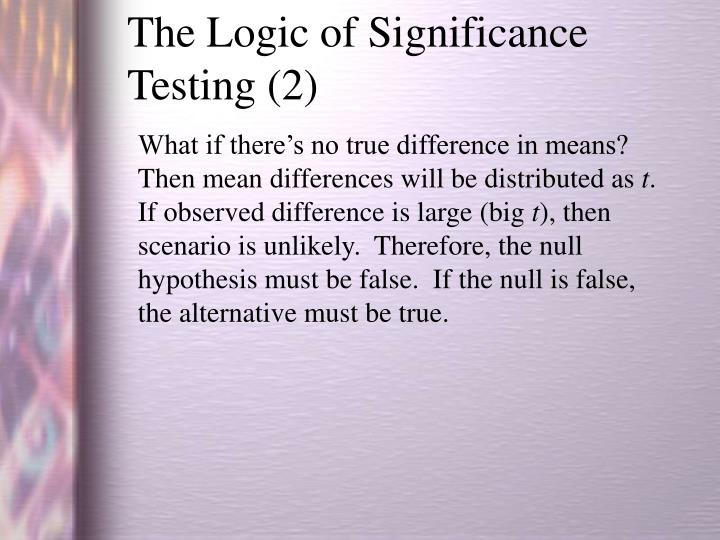 The Logic of Significance Testing (2)