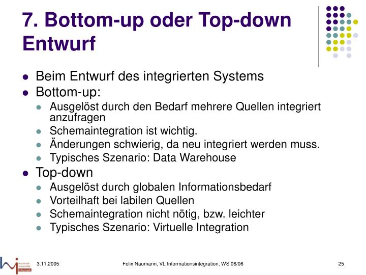 7. Bottom-up oder Top-down Entwurf