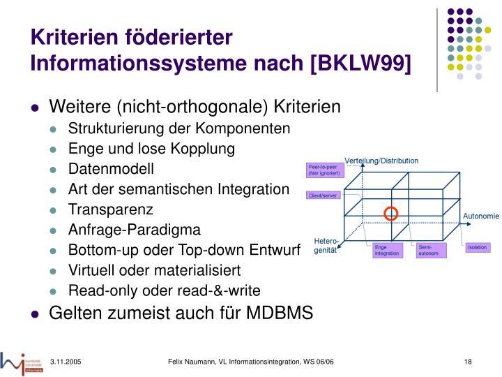 Kriterien föderierter Informationssysteme nach [BKLW99]