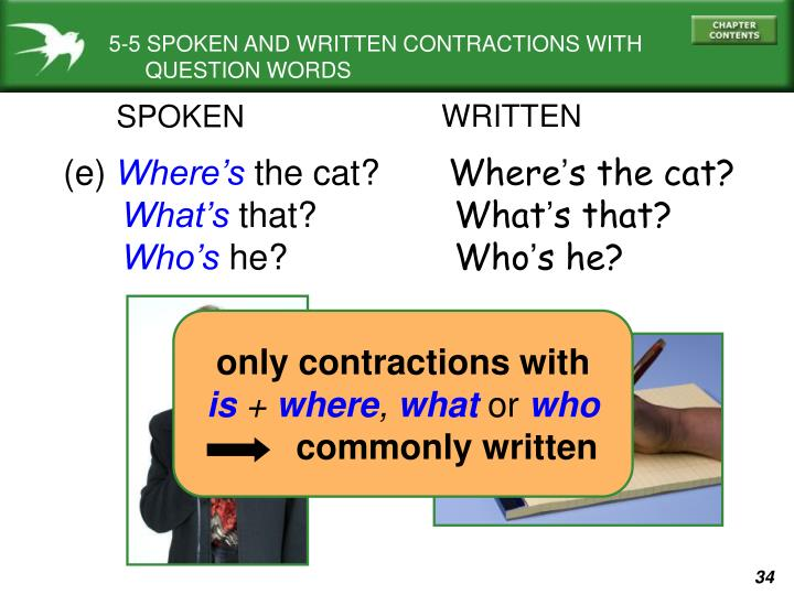 5-5 SPOKEN AND WRITTEN CONTRACTIONS WITH