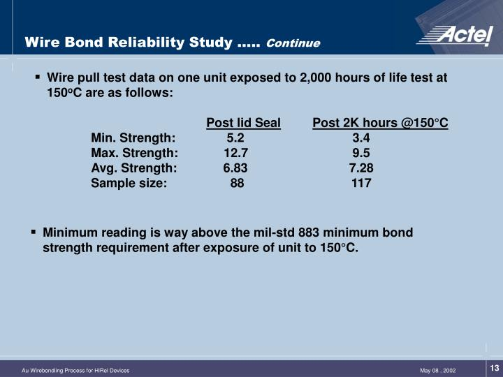Wire Bond Reliability Study …..