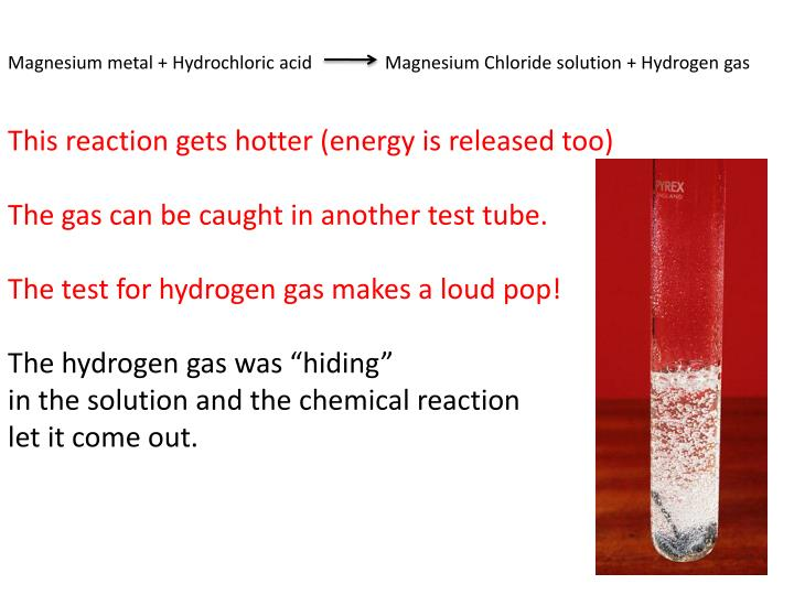 Magnesium metal + Hydrochloric acid                Magnesium Chloride solution + Hydrogen gas