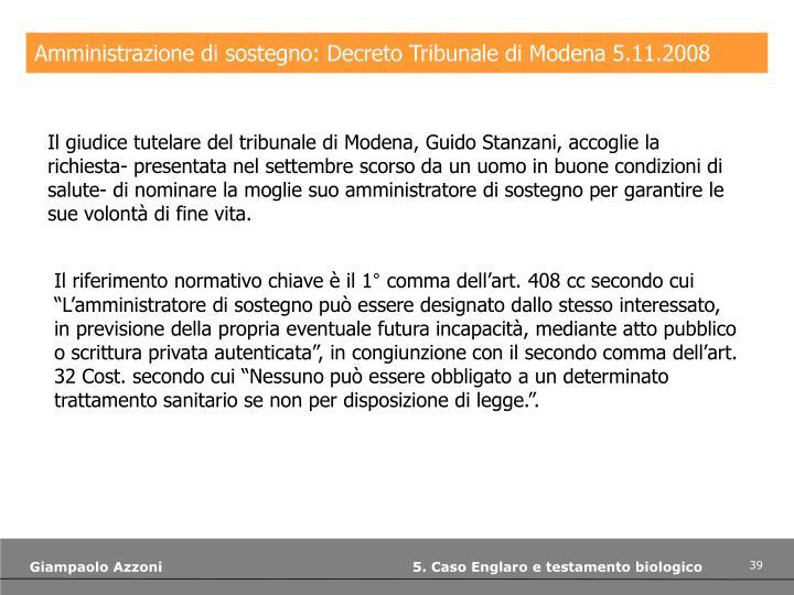 Amministrazione di sostegno: Decreto Tribunale di Modena 5.11.2008