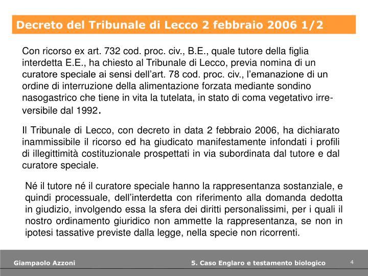 Decreto del Tribunale di Lecco 2 febbraio 2006 1/2