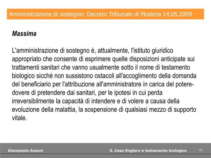 Amministrazione di sostegno: Decreto Tribunale di Modena 14.05.2009