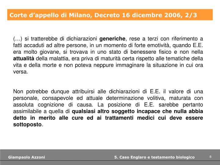Corte d'appello di Milano, Decreto 16 dicembre 2006, 2/3