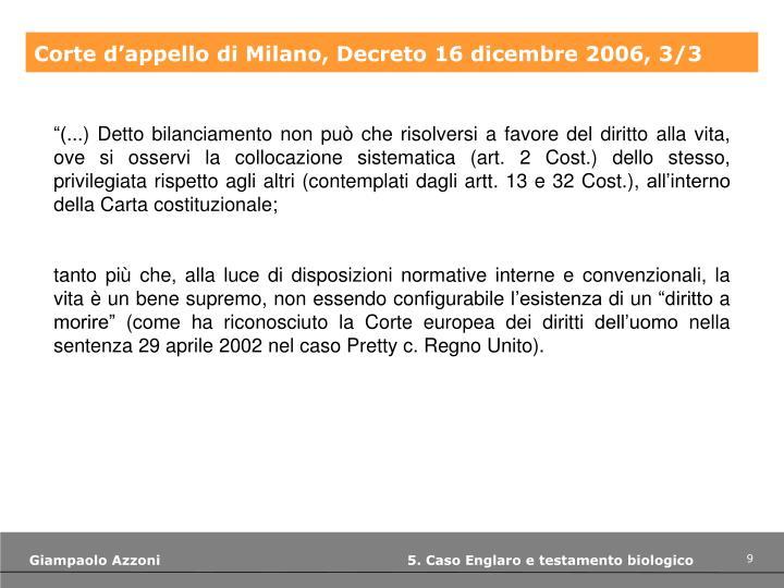 Corte d'appello di Milano, Decreto 16 dicembre 2006, 3/3