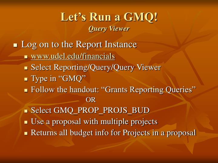 Let's Run a GMQ!