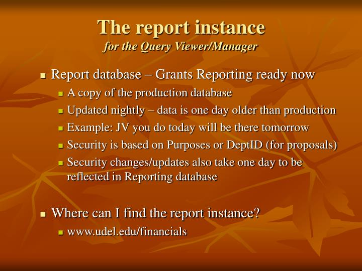 The report instance