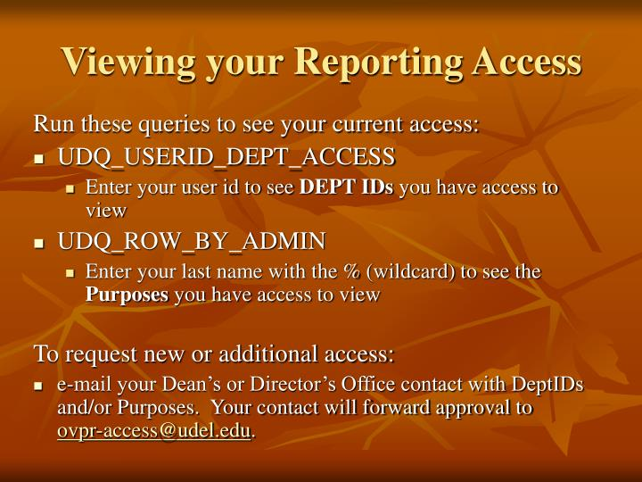 Viewing your Reporting Access