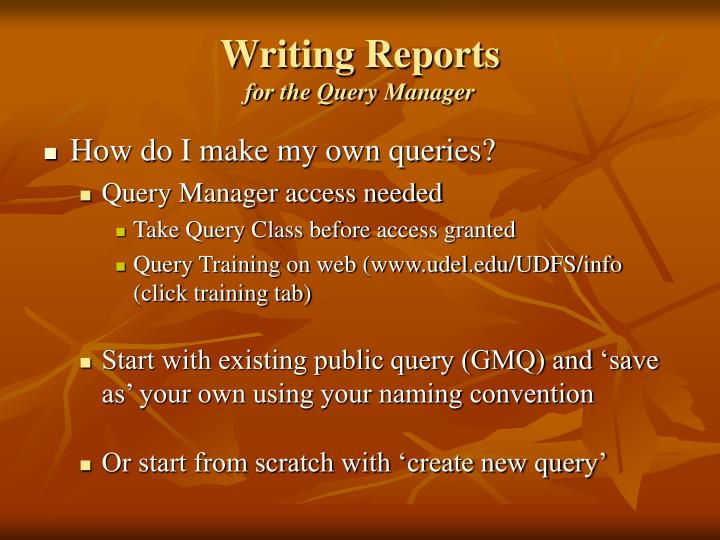 Writing Reports