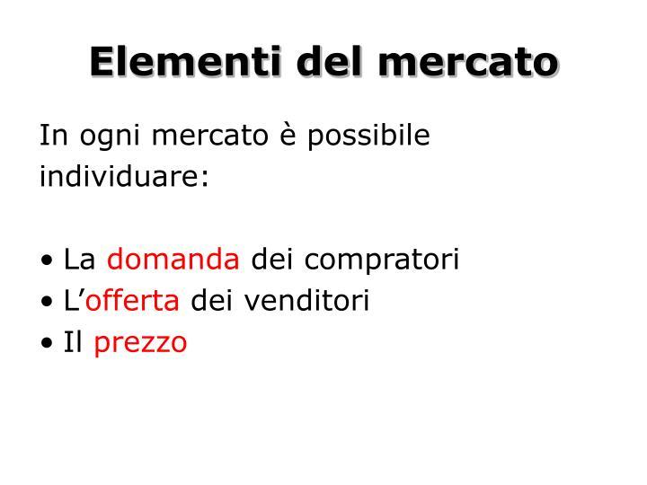 Elementi del mercato