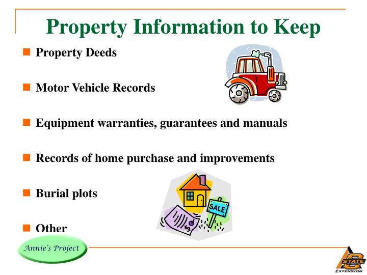 Property Information to Keep