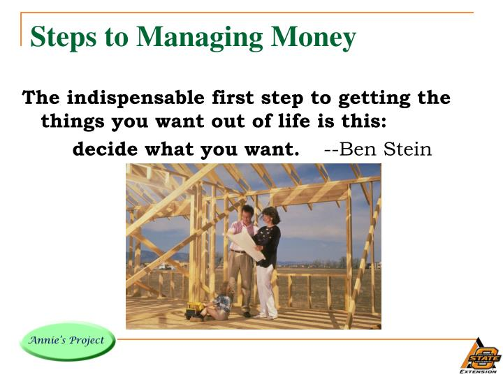 Steps to managing money