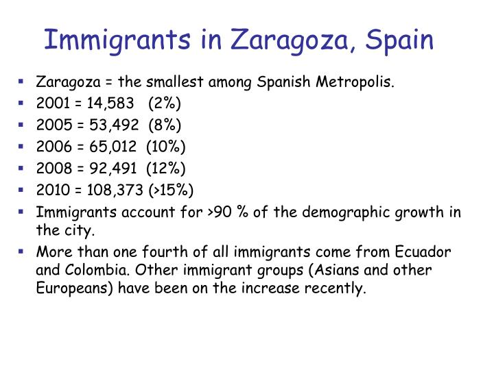 Immigrants in Zaragoza, Spain