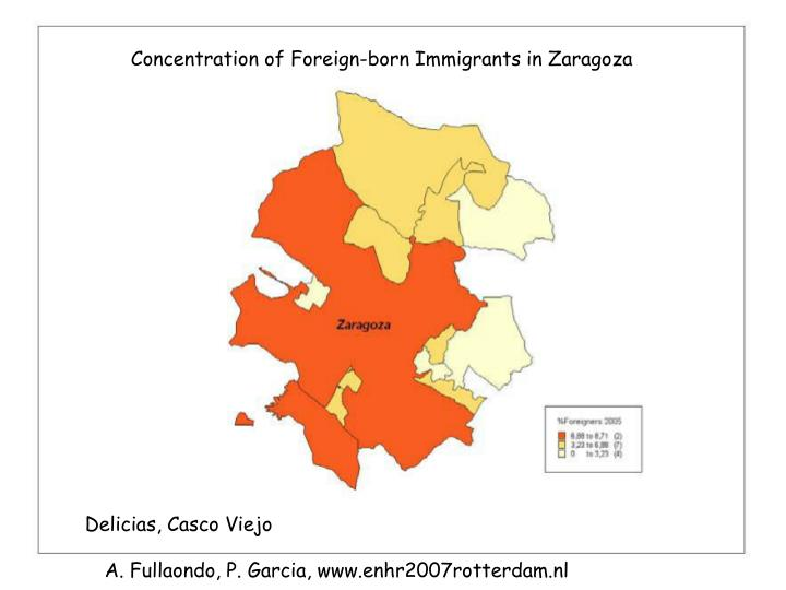 Concentration of Foreign-born Immigrants in Zaragoza