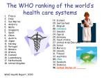 the who ranking of the world s health care systems