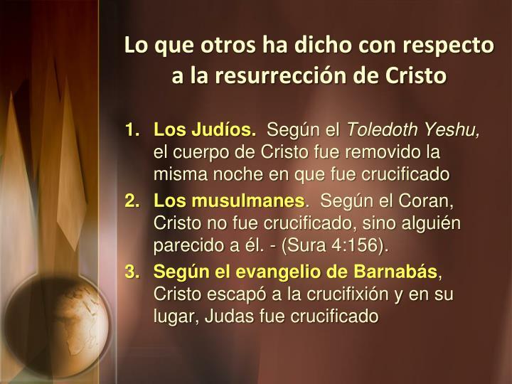 Lo que otros ha dicho con respecto a la resurrección de Cristo
