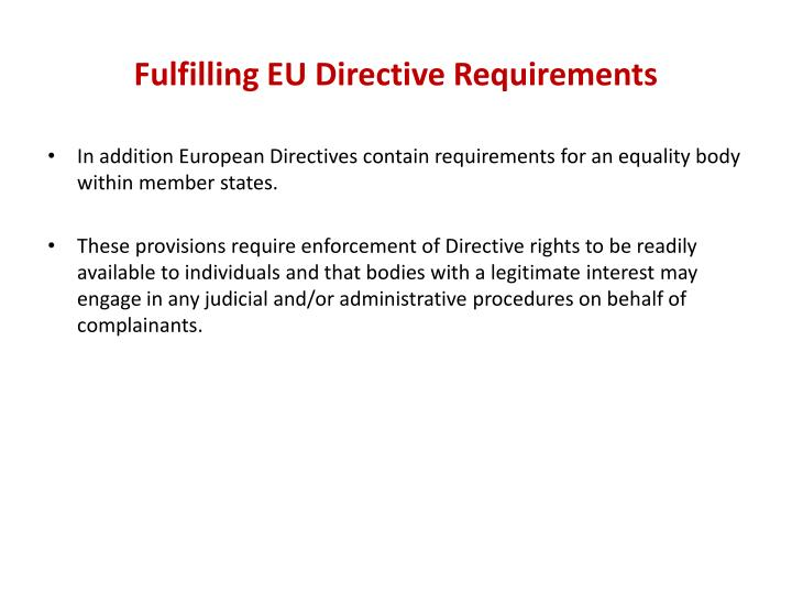 Fulfilling EU Directive Requirements