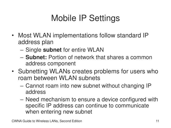 Mobile IP Settings